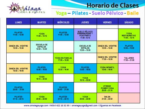 Actividades y horarios om laga yoga pilates for Horario oficina correos malaga