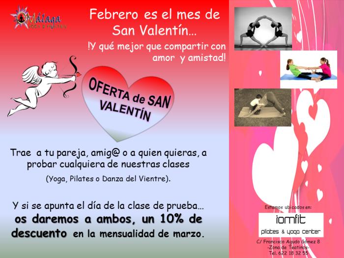 Oferta de San Valentín... ¡Comparte Amor, Amistad, Yoga, Pilates y Danza del Vientre! Todo es mejor mejor entre dos...